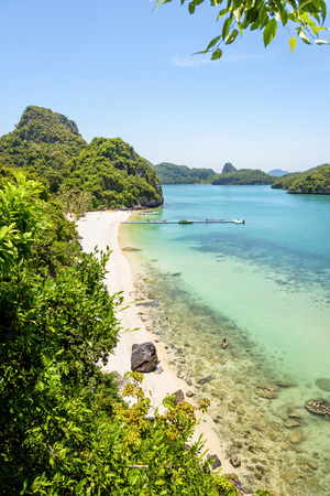 High angle view beautiful natural landscape of the beach, floating pier, islands and sea in summer from Ko Wua Talap viewpoint at Mu Ko Ang Thong National Marine Park in Gulf of Thailand.