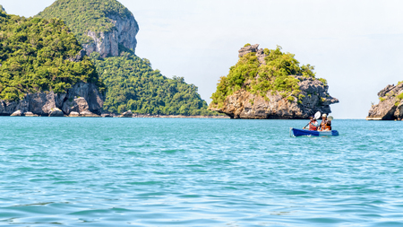 blue widescreen widescreen: Two women are mother and daughter. Travel by boat with kayak view the beautiful natural landscape of the blue sea and island at summer, Mu Ko Ang Thong National Park, Surat Thani, Thailand, 16:9 widescreen
