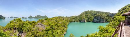 Thale Nai or  (Emerald Lake) High angle view panorama beautiful nature landscape green sea in the middle of mountain at Koh Mae Ko island in Mu Ko Ang Thong National Park, Surat Thani, Thailand