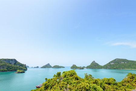 High angle view beautiful nature landscape during summer of blue sky over the sea and island from Koh Mae Ko island viewpoint in Mu Ko Ang Thong National Marine Park, Surat Thani, Thailand Stock Photo