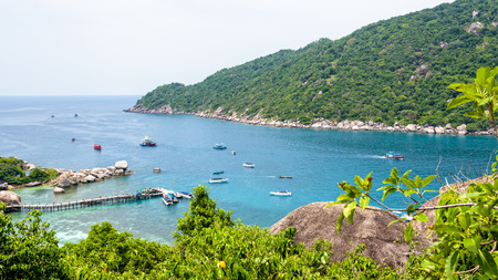 High angle view beautiful natural landscape sea at Ko Tao and pier for boat trip at Koh Nang Yuan Island is a famous tourist attraction in the Gulf of Thailand, Surat Thani, Thailand, 16:9 widescreen