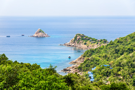 Beautiful nature landscape blue sea at Aow leuk bay under the summer sky from high scenic view point on Koh Tao island is a famous tourist attraction in the Gulf of Thailand, Surat Thani, Thailand