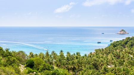 Beautiful nature landscape blue sea at Aow leuk bay under the summer sky from high scenic view point on Koh Tao island is a famous tourist attraction in Surat Thani, Thailand, 16:9 widescreen Stock Photo