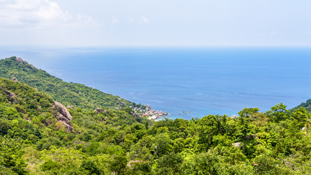Beautiful nature landscape blue sea at Aow leuk bay under the summer sky from high scenic view point on Koh Tao island is a famous tourist attraction in Surat Thani, Thailand, 16:9 widescreen Zdjęcie Seryjne
