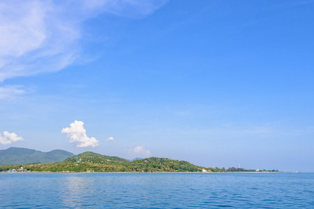 Beautiful nature landscape of sky and blue sea in summer at Ko Pha Ngan island in Gulf of Thailand is a famous attractions of Surat Thani province, Thailand