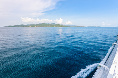 Beautiful natural landscape of sky and blue sea while travel by speed boat in summer to Ko Pha Ngan island in Gulf of Thailand is a famous attractions of Surat Thani province, Thailand