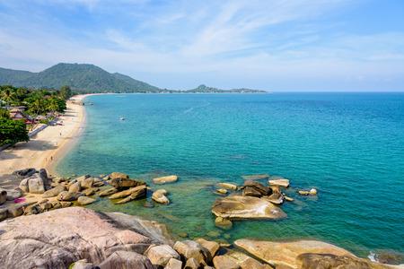 High angle view beautiful nature landscape of Lamai beach from Hin Ta Hin Yai viewpoint coastline near the blue sea under the summer sky of Koh Samui island, Surat Thani province, Thailand Stock Photo
