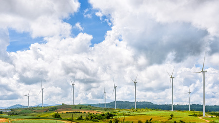 Beautiful nature landscape windmills field on the hill and blue sky, white clouds are the background at Khao Kho, Phetchabun Province, Thailand, 16:9 wide screen 版權商用圖片
