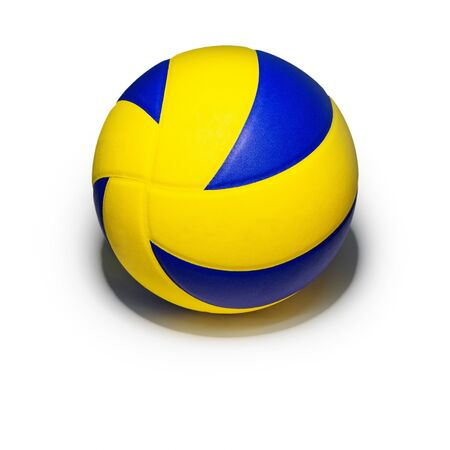 Closeup yellow blue volleyball sports equipment with light shining from above, with shadow below, isolated leather volley ball object on a square white background Stockfoto