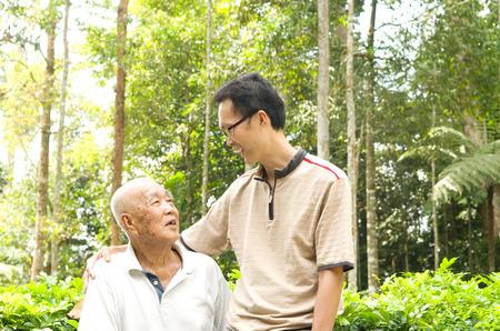 Conversation between senior man and son.