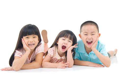 asia family: Asian kids lying on the floor