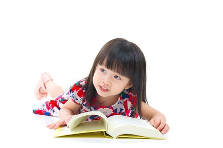 kid book: Asian girl reading a book