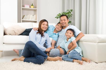 Indoor portrait of asian family Stock Photo