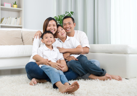 family indoors: Indoor portrait of asian mixed race family