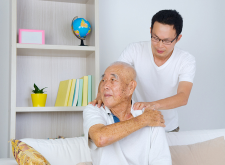 happy asian people: Asian senior man and son
