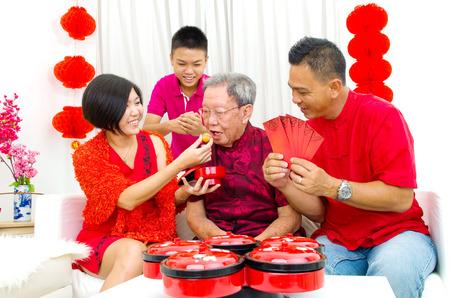 three generations: Asian three generations family celebrate chinese new year