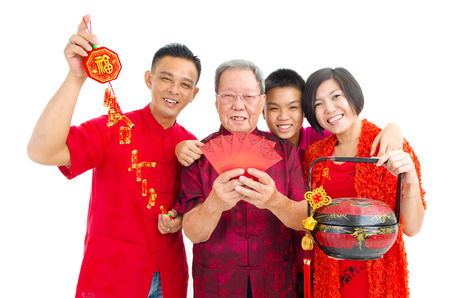 Asian three generations family celebrate chinese new year
