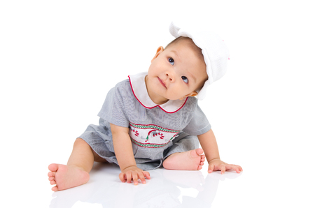 asian baby: crawling beautiful baby girl