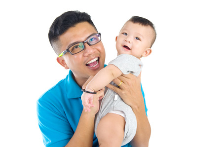guy portrait: Asian father with his cute son.