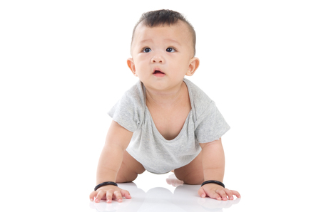 crawling cute asian baby boy