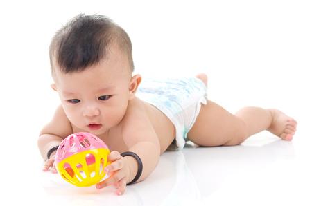 crawling cute asian baby boy