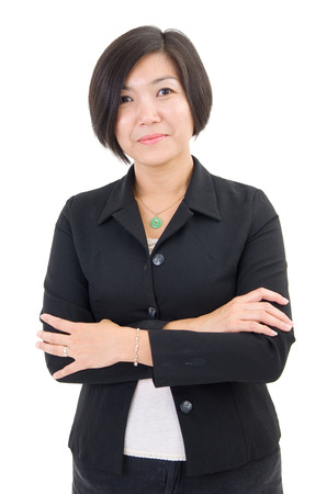 southeast asian: Smiling Southeast Asian Business woman over white background