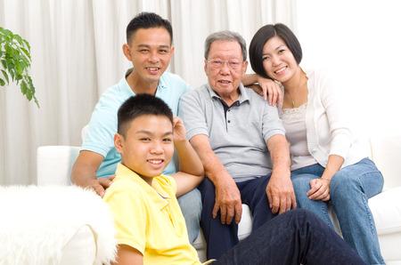 3 generations: Indoor portrait of beautiful asian 3 generations family Stock Photo