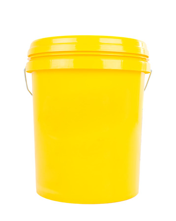 yelllow: Yellow plastic bucket with yelllow lid. Product Packaging for lubricant, oil. Isolated over white background.