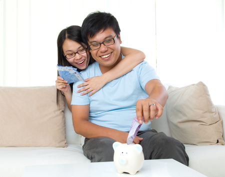 financial planning married: husband and wife with family finance concept
