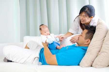 Portrait of asian family Stock Photo
