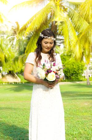 asian bride: Asian bride at outdoor in a morning Stock Photo