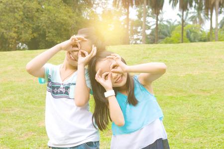 Asian children having fun at outdoor Stock Photo