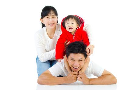 singaporean: Portrait of a happy asian family in the studio Stock Photo