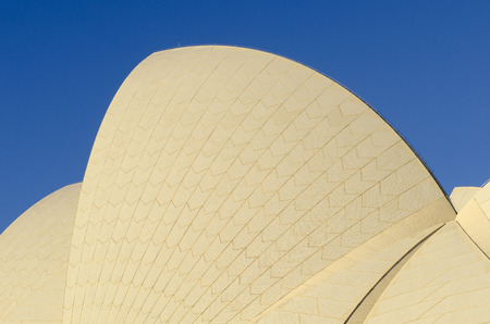 utzon: SYDNEY - AUGUST 16 2017. View of a detail  of The Sydney Opera House in Sydney, Australia on August 16, 2017. Designed by Danish architect Jorn Utzon.