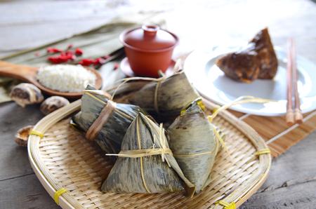 Asian Chinese Rice Dumpling, Zongzi Stock Photo