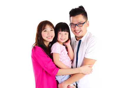 Indoor portrait of beautiful asian family