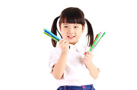 little asian girl holding pencil , isolated on white background. School, education concept.