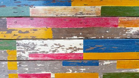 Vintage wood background with peeling paint. Stock Photo