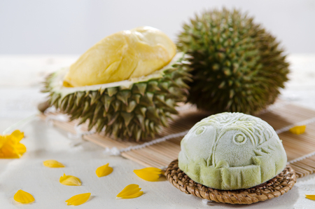 Durian Mooncake ,Chinese mid autumn festival food. Stock Photo