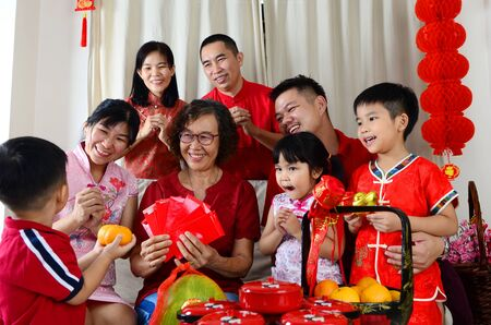 Asian three generations family celebrate chinese new year Reklamní fotografie
