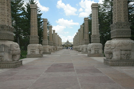 stone pillars with carving on it