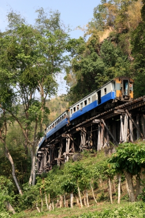 Kanchanaburi, Thailand - December 19, 2008  The Thailand–Burma Railway, also known as the Death Railway, was a 415 kilometres  258 mi  railway between Bangkok, Thailand, and Rangoon, Burma  now Yangon, Myanmar , built by the Empire of Japan in 1943, to