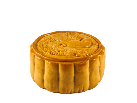 moon cake festival: Fruits and Nuts Moon cake isolated on the white background, Autumn Moon cake festival food