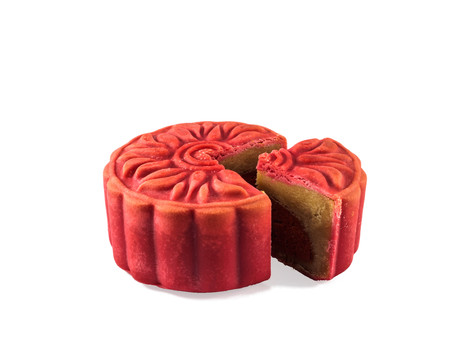 moon cake festival: Cranberry  Earl Grey Moon cake isolated on the white background, Red Moon cake, Autumn Moon cake festival food