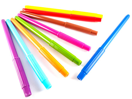 Colorful pens isolated on white background, isolated object.