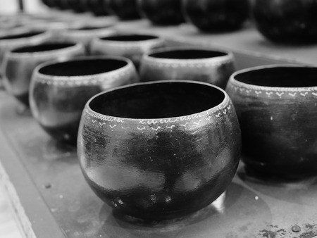 alms: The monks alms bowl process in black and white tone