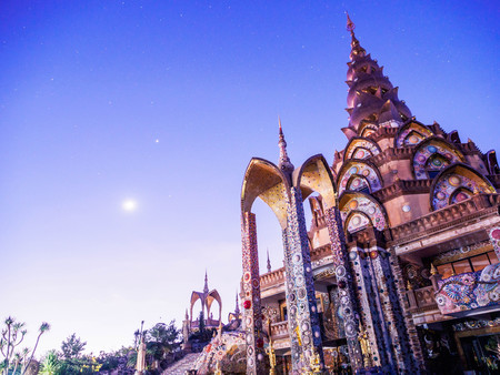 Bright Starry Night over the sky at Wat Phra Thart Pha Kaew, is a Buddhist monastery and temple in Khao Kor, Phetchabun, in north-central Thailand Stock Photo