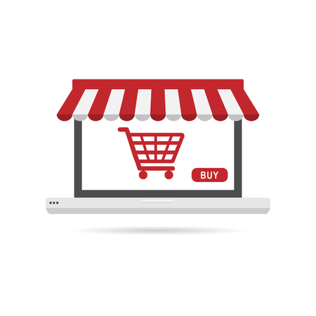 Online shopping concept with laptop symbol in flat icon design on the white background Illustration