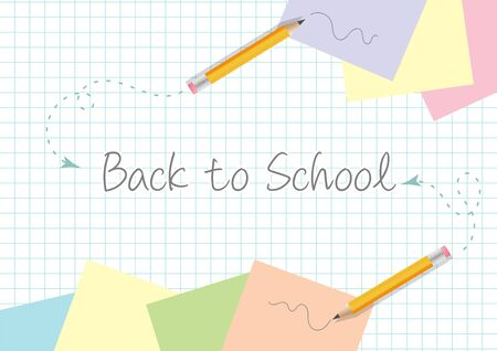 Back to school concept template design with yellow pencils scribbles papers on paper background Illustration