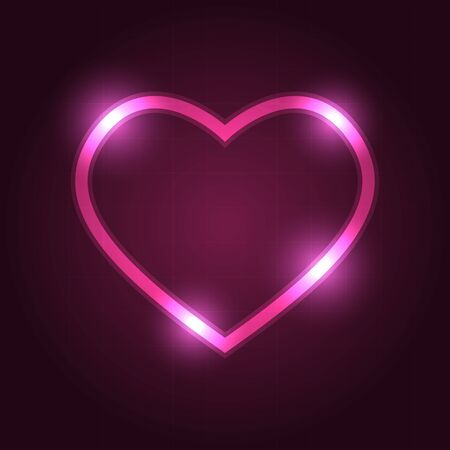 Heart symbol icon with neon pink outlined and glowing light in dark pink gradient background Foto de archivo - 132218227